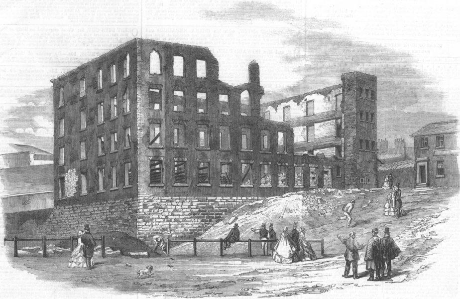 Associate Product LANCS. Swallow St Factory ruin, Blackburn, burnt down, antique print, 1860