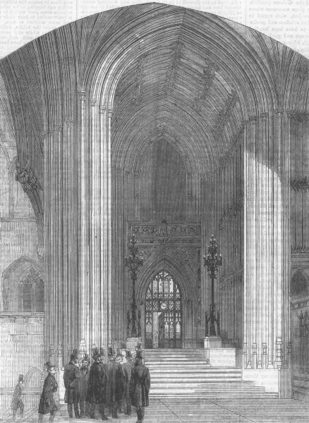 Associate Product LONDON. main entry, St Stephen's Hall, Westminster, antique print, 1860