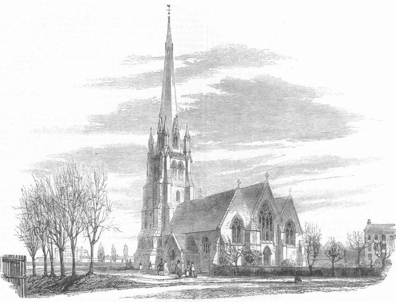 Associate Product Christ Church, Hampstead, London, antique print, 1860
