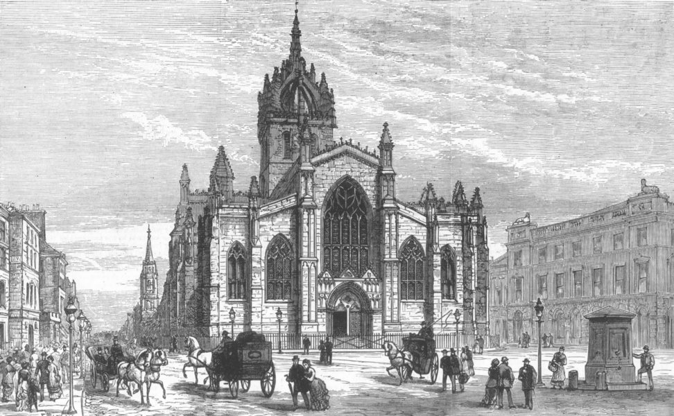 Associate Product LONDON. St Gile's Church, Edinburgh, antique print, 1883