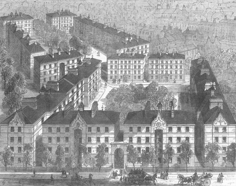 Associate Product LONDON. Peabody Sq Model houses, Blackfriars Rd, antique print, 1872