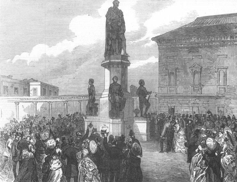 Associate Product IRELAND. Dublin Prince Consort memorial, Leinster Lawn, antique print, 1872