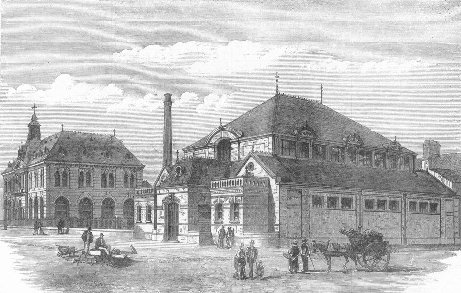Associate Product LANCS. working men's club, Barrow-in-Furness, antique print, 1872