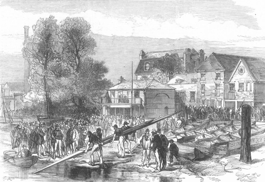 Associate Product LONDON. Boat-Race. Americans, Biffin's Yd, Hammersmith, antique print, 1872