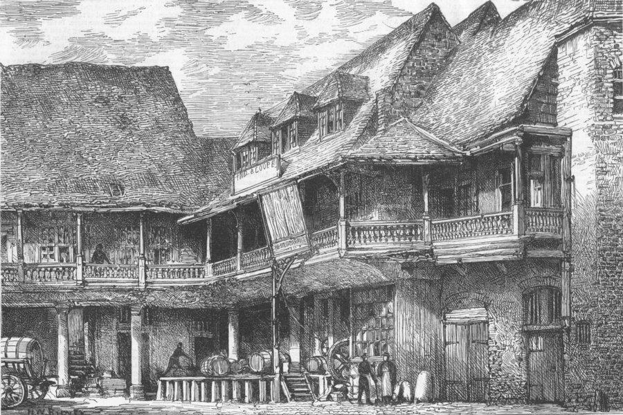 Associate Product LONDON. Tabard Inn, Southwark, Chaucer, Pilgrims, antique print, 1873
