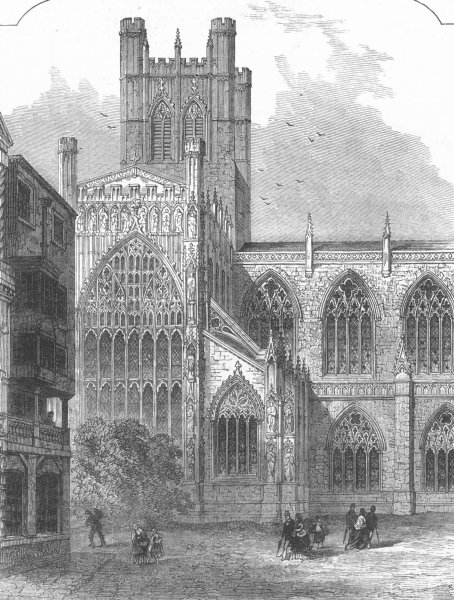 Associate Product CHESHIRE. Chester Cathedral. South Transept, antique print, 1872