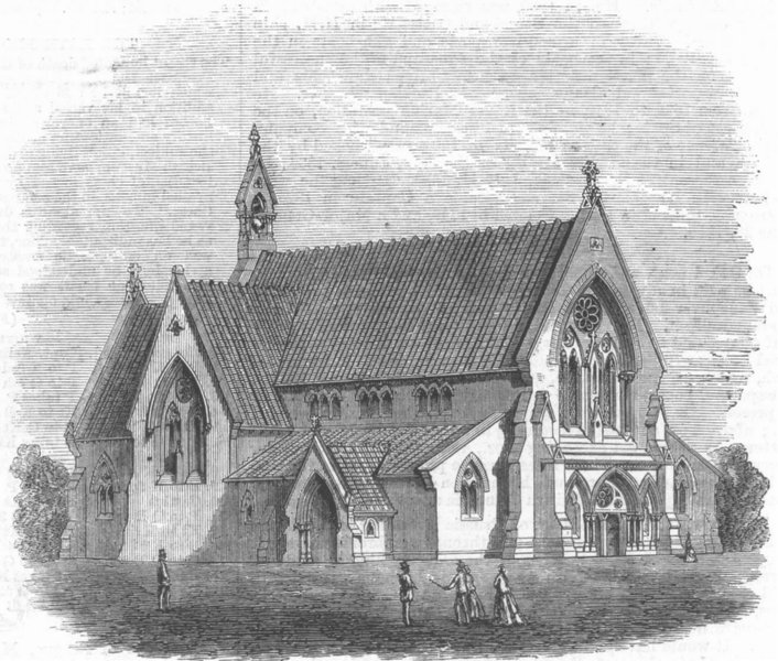 Associate Product YORKS. Neeps End Church, Sheffield, antique print, 1868