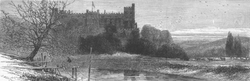 Associate Product SUSSEX. Arundel Castle from the river, antique print, 1877