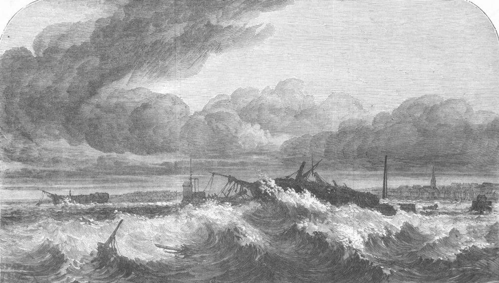 Associate Product LANCS. Wrecks, Mersey, after wind, antique print, 1853