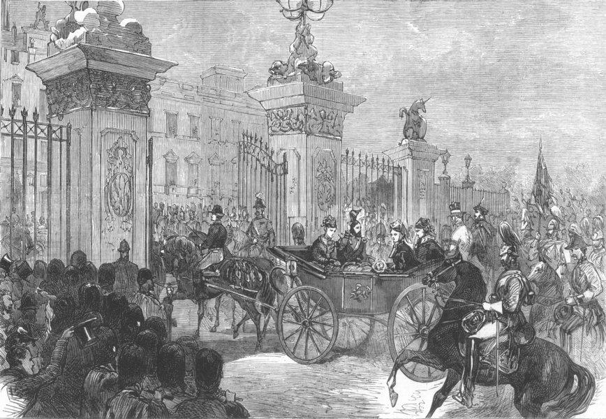 Associate Product LONDON. parade, Buckingham Palace, antique print, 1874