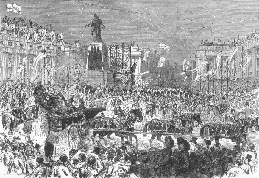 Associate Product LONDON. Royal parade, Guards Memorial, Waterloo Place, antique print, 1874