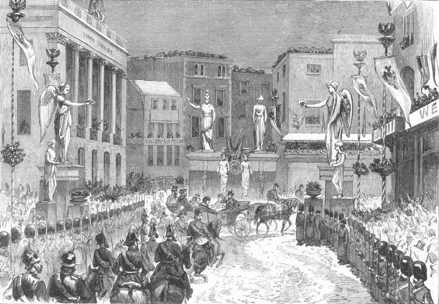 Associate Product LONDON. parade, foot of Regent St, antique print, 1874
