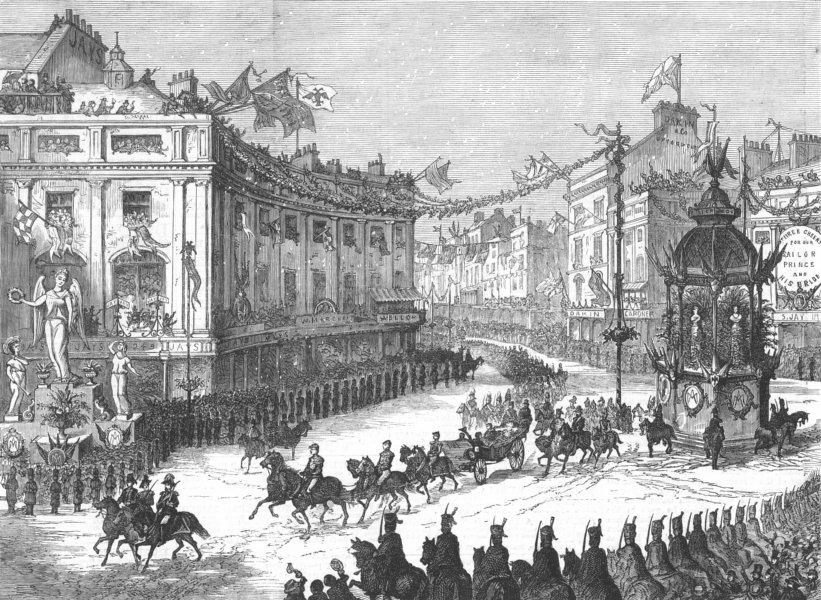 LONDON. Royal parade, Oxford-Circus, antique print, 1874