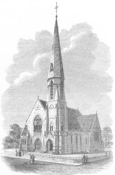 Associate Product LANCS. Trinity United Presbyterian Church, Rochdale, antique print, 1869