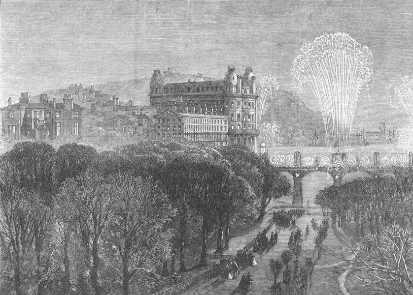 Associate Product YORKS. Scarborough. Festive firework display, antique print, 1869