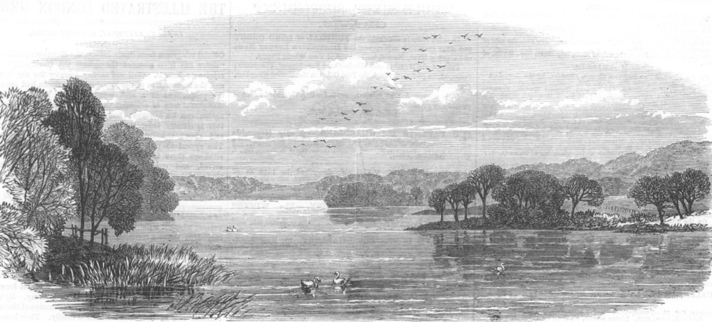 Associate Product LANCS. The Lake, Knowsley Park, antique print, 1869