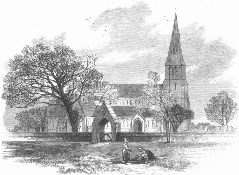 Associate Product LANCS. Knowsley Church, antique print, 1869