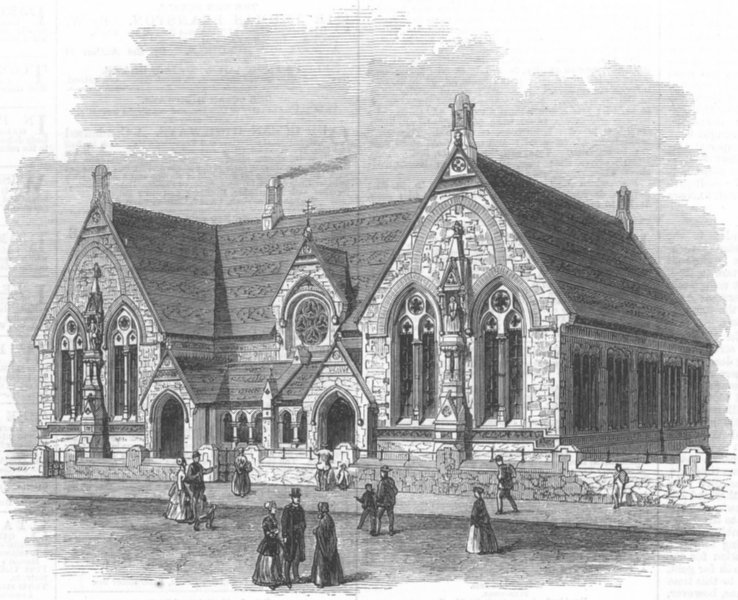 Associate Product LEICS. St Mary's Schools, Leicester, antique print, 1869