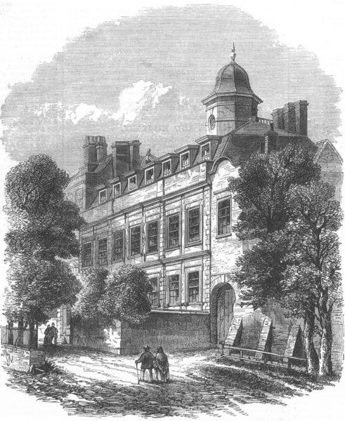 Associate Product LONDON. Gt Ormond St hospital, Cromwell House, Highgate, antique print, 1869