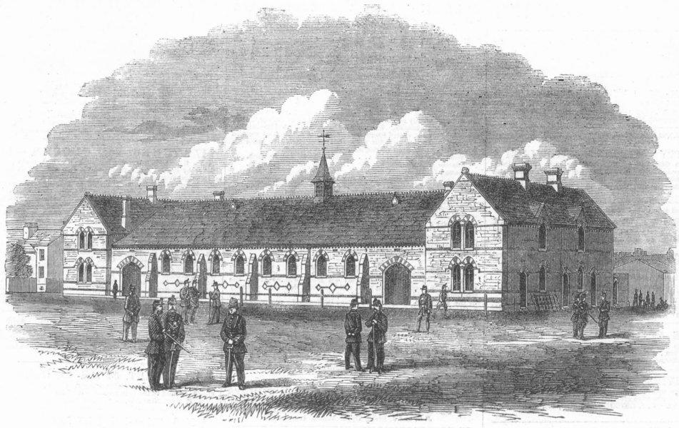 Associate Product YORKS. new Rifle Volunteer Barracks, Hull, antique print, 1864