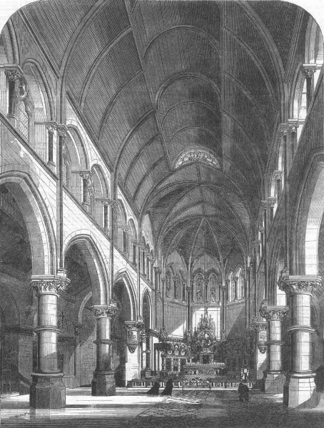 Associate Product YORKS. new Catholic Cathedral, York, antique print, 1864