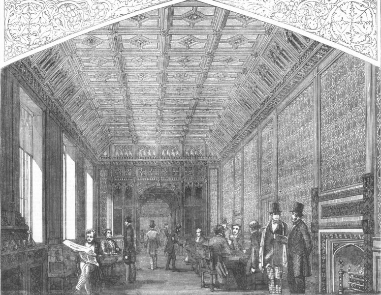 Associate Product LONDON. Westminster. Refreshment-Room of Lords, antique print, 1854
