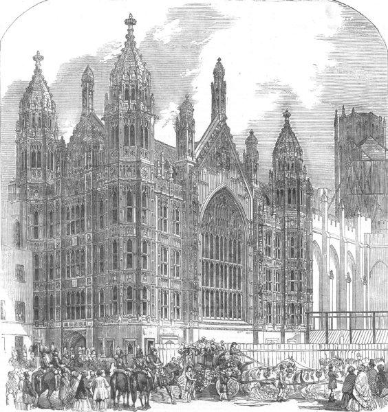 Associate Product LONDON. Westminster. St Stephenss Porch, antique print, 1854