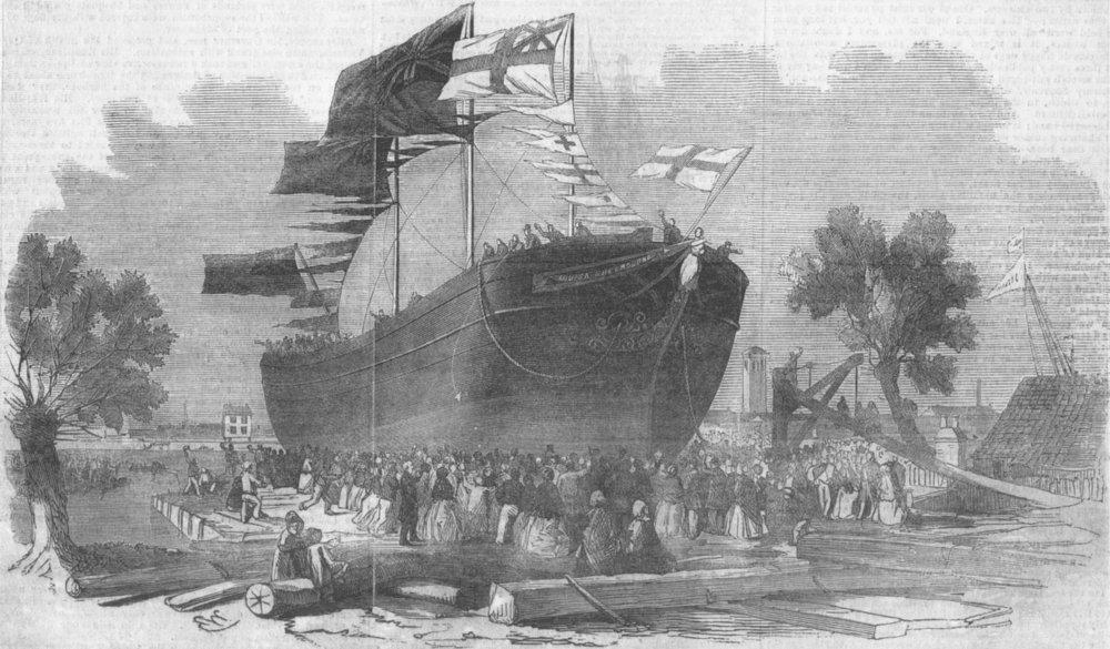 Associate Product LONDON. Launch of Louisa Shelbourne, Battersea, antique print, 1854