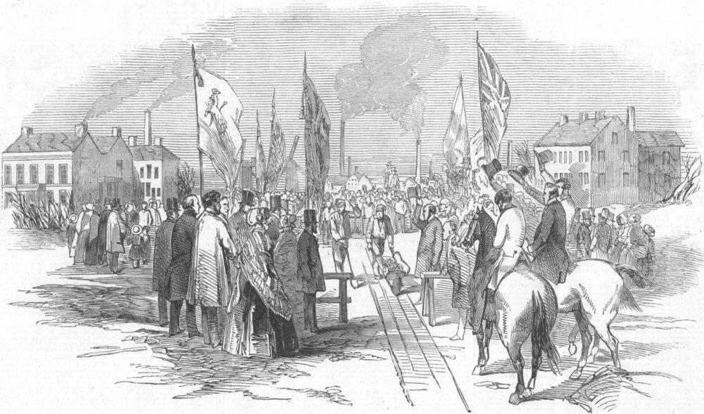 Associate Product LANCS. Preston, Fleetwood & West Riding Railway, antique print, 1847