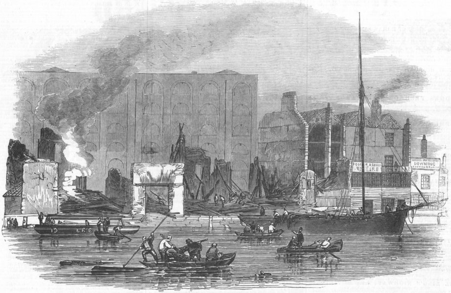 Associate Product LONDON. Ruins of Irongate Wharf, after fire, antique print, 1847