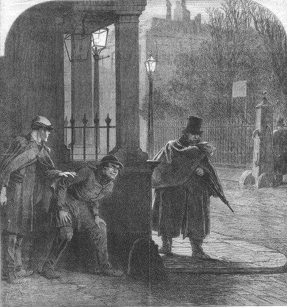 Associate Product LONDON. Garotters lying, Wait. Scene, London Square, antique print, 1863