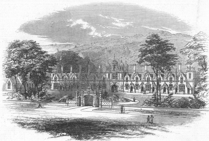 Associate Product LONDON. Fishmongers & Poulterers Asylum, Wood Green, antique print, 1847