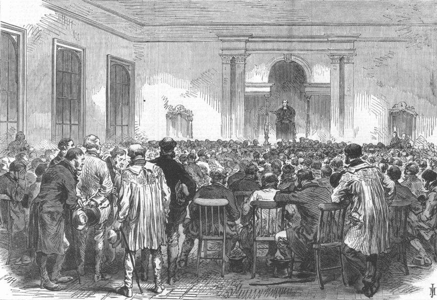 Associate Product LONDON. Smithfield cattle show. Service, Berners Hall, antique print, 1868