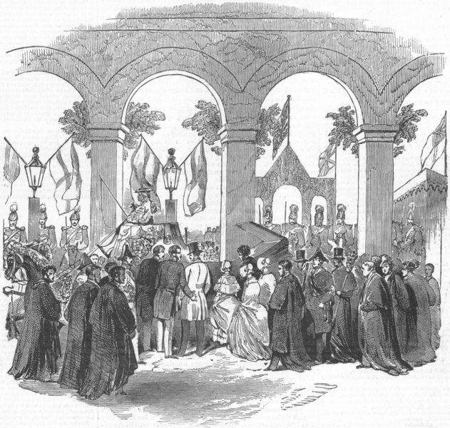 Associate Product CAMBS. Queen, Cambridge Station, antique print, 1847