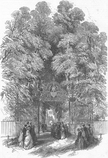 Associate Product CAMBS. Trinity College, Cambridge, Gdns, Queen, antique print, 1847