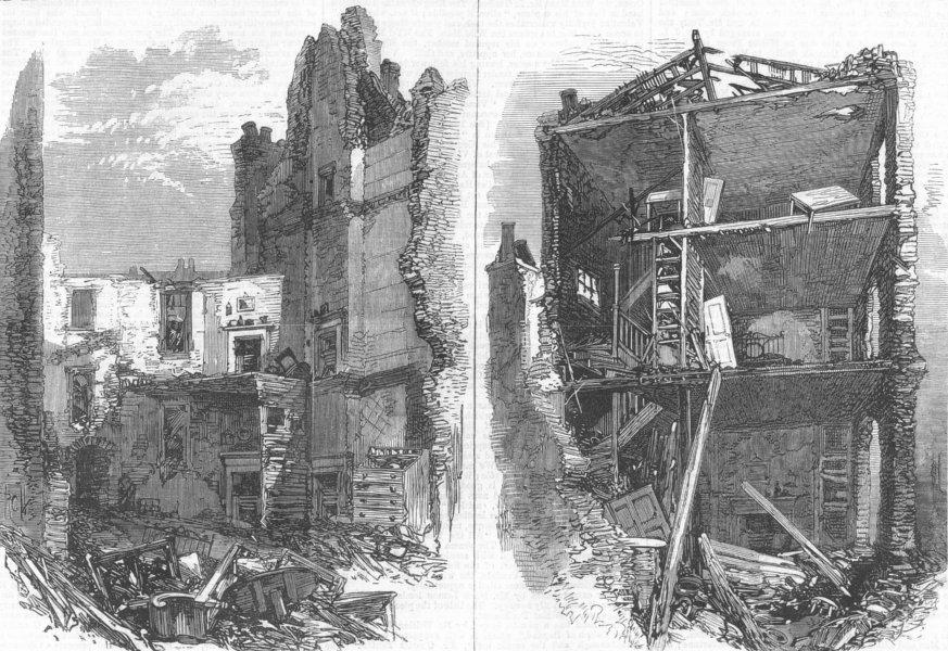 Associate Product LONDON. Interiors of houses, Corporation Lane, antique print, 1867