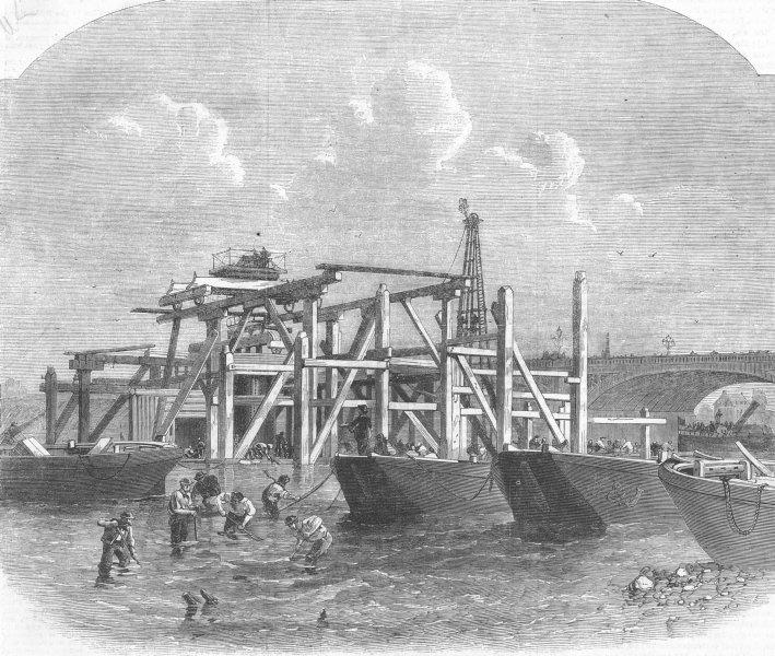 Associate Product LONDON. Thames embankment works, Westminster Bridge, antique print, 1864