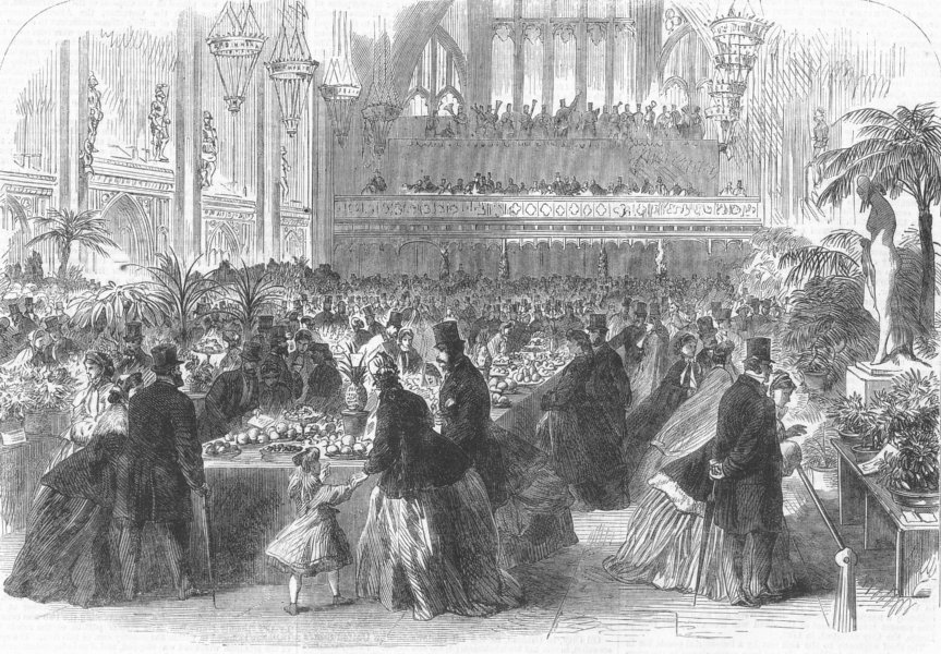 Associate Product LONDON. United Horticultural Society expo, Guildhall, antique print, 1865