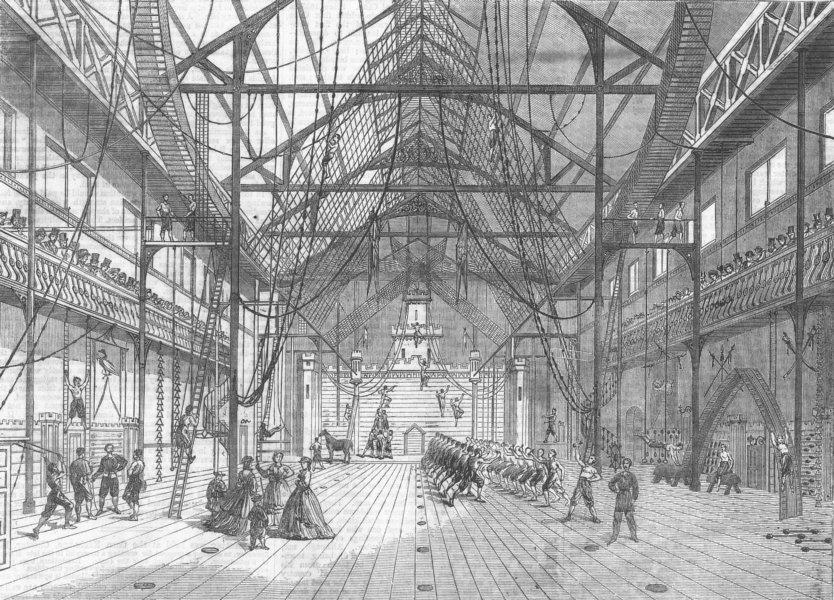 Associate Product LANCS. new Gymnasium, Liverpool, antique print, 1865