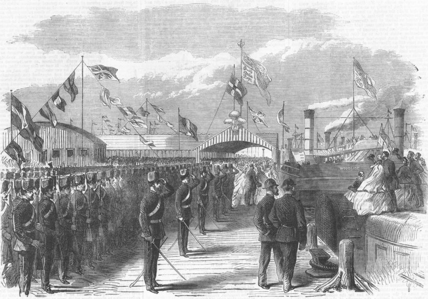 Associate Product LANCS. Departure of Prince of Wales, Liverpool, antique print, 1865