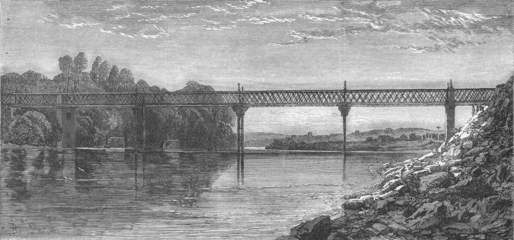 Associate Product WALES. Lattice-Girder Bridge over river Wye, antique print, 1865