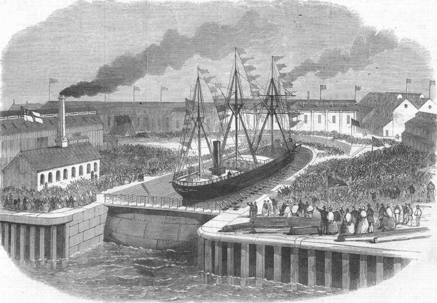 Associate Product NORTHUMBS. new dry dock, Jarrow, Tyne, antique print, 1865