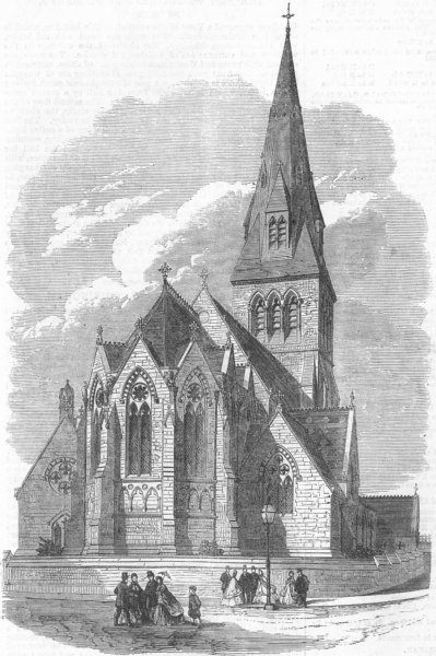 Associate Product NOTTS. All Saints' Church, Nottingham, antique print, 1865