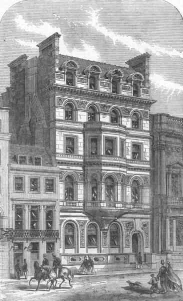 Associate Product LONDON. Civil Service Clubhouse, thatched house, antique print, 1865