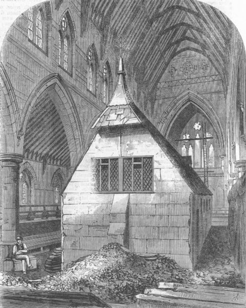 Associate Product LONDON. Temporary church within St Michael's, antique print, 1865