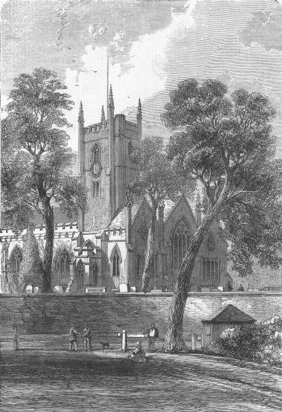 Associate Product WARCS. Handsworth Church, Birmingham, James Watt, antique print, 1865