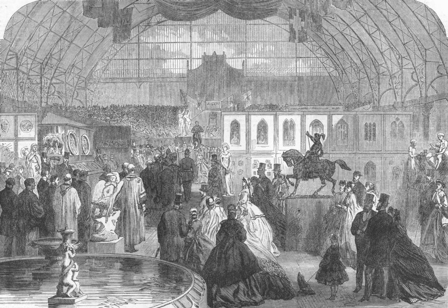 Associate Product LONDON. Exhibition, Agricultural Hall, Islington, antique print, 1865