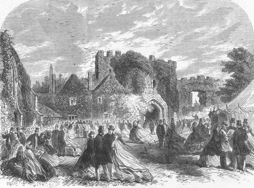 Associate Product Archaeological Society meeting at Amberley Castle, Sussex, antique print, 1865