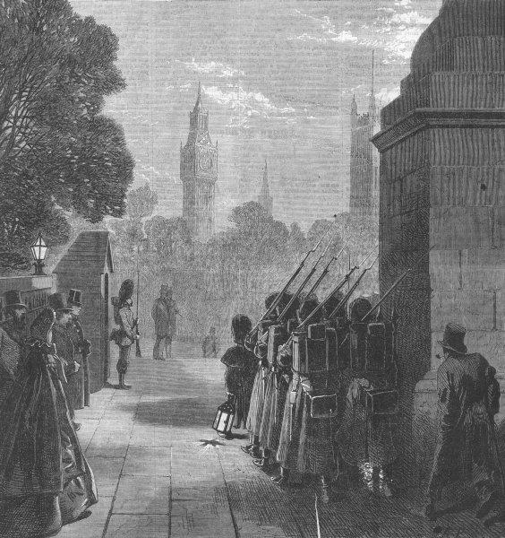 Associate Product LONDON. Relieving guard, Duke of York's Column, antique print, 1863