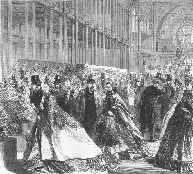 LONDON. Royal Horticultural Society flower show, antique print, 1863